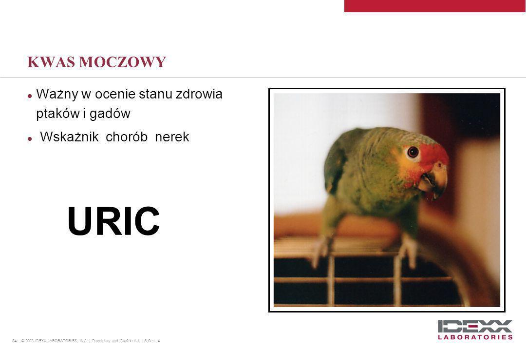 34 © 2002 IDEXX LABORATORIES, INC. | Proprietary and Confidential | 8-Sep-14 KWAS MOCZOWY Ważny w ocenie stanu zdrowia ptaków i gadów Wskażnik chorób