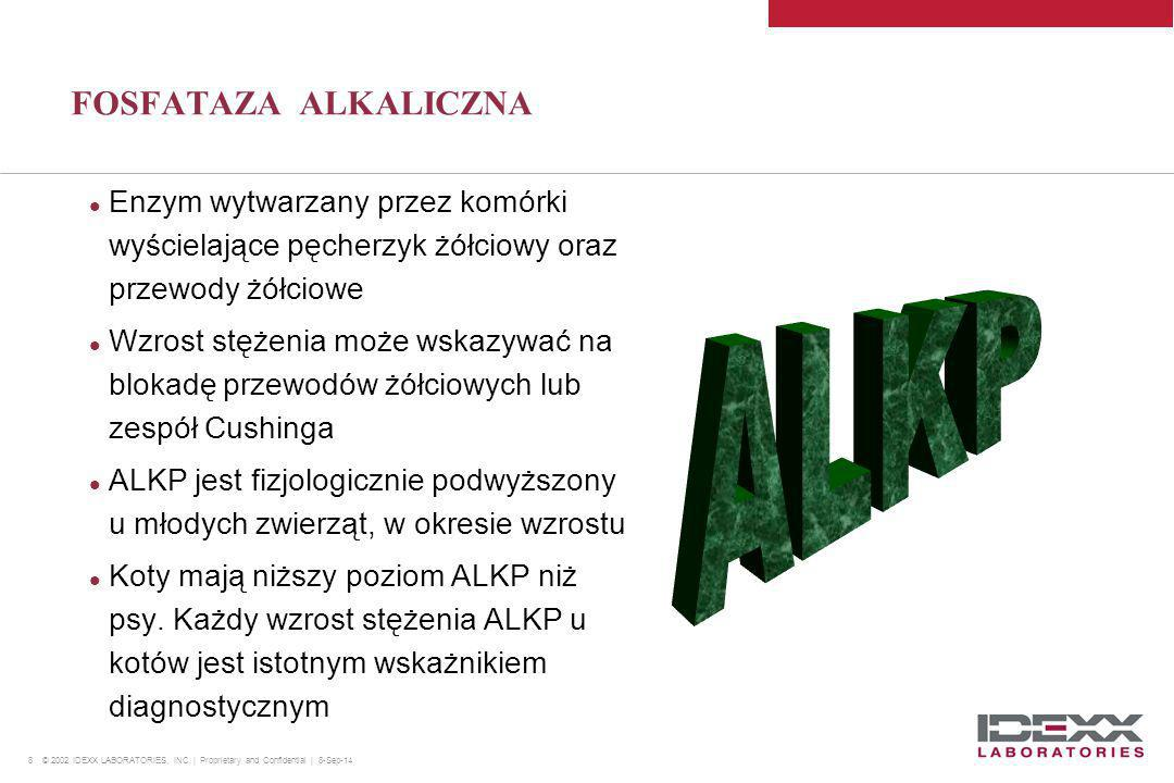 8 © 2002 IDEXX LABORATORIES, INC. | Proprietary and Confidential | 8-Sep-14 FOSFATAZA ALKALICZNA Enzym wytwarzany przez komórki wyścielające pęcherzyk