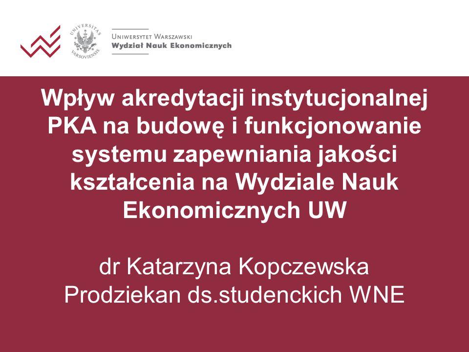 Wpływ akredytacji instytucjonalnej PKA na budowę i funkcjonowanie systemu zapewniania jakości kształcenia na Wydziale Nauk Ekonomicznych UW dr Katarzyna Kopczewska Prodziekan ds.studenckich WNE