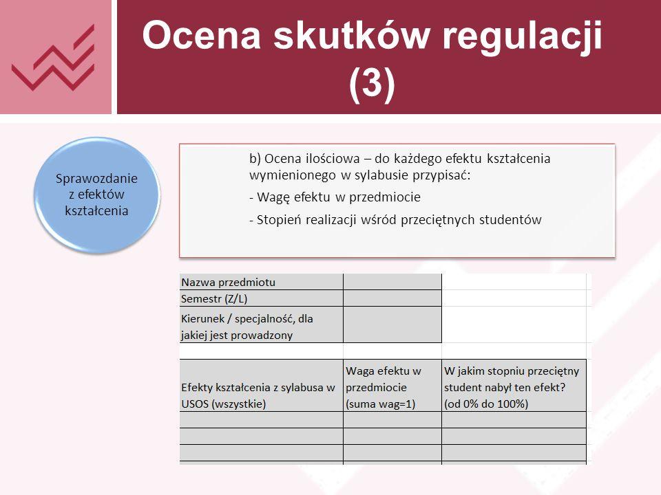 Tekst prezentacji Ocena skutków regulacji (3) b) Ocena ilościowa – do każdego efektu kształcenia wymienionego w sylabusie przypisać: - Wagę efektu w przedmiocie - Stopień realizacji wśród przeciętnych studentów Sprawozdanie z efektów kształcenia