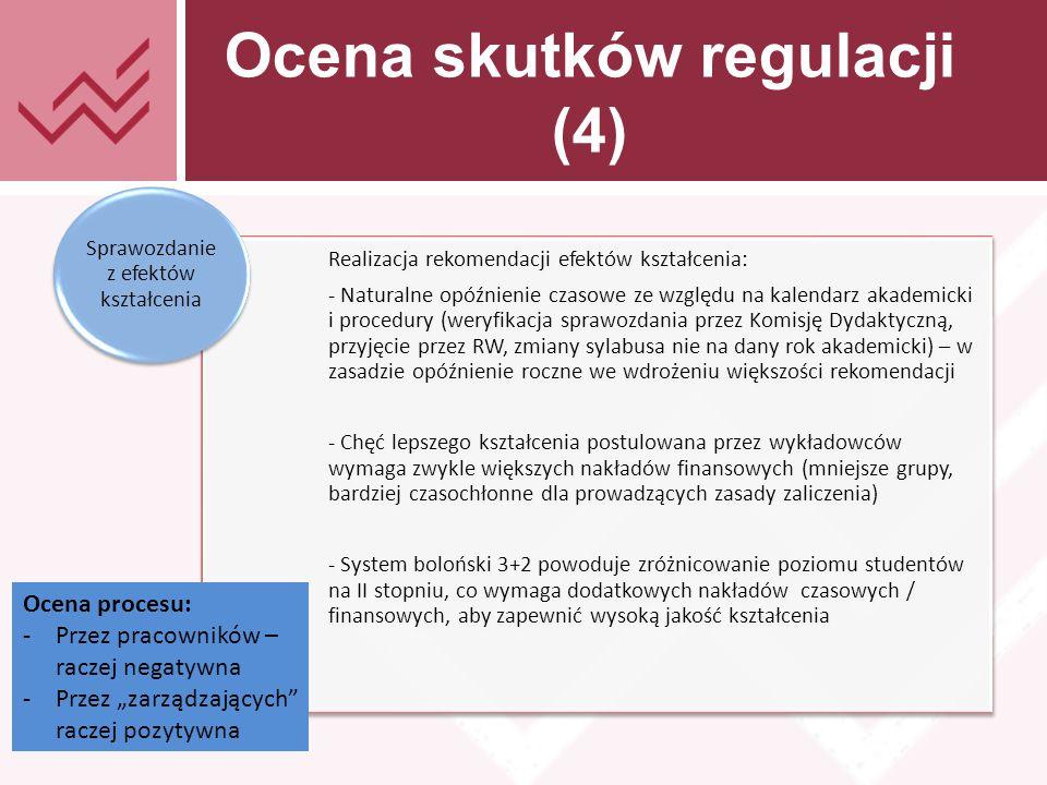 """Tekst prezentacji Ocena skutków regulacji (4) Realizacja rekomendacji efektów kształcenia: - Naturalne opóźnienie czasowe ze względu na kalendarz akademicki i procedury (weryfikacja sprawozdania przez Komisję Dydaktyczną, przyjęcie przez RW, zmiany sylabusa nie na dany rok akademicki) – w zasadzie opóźnienie roczne we wdrożeniu większości rekomendacji - Chęć lepszego kształcenia postulowana przez wykładowców wymaga zwykle większych nakładów finansowych (mniejsze grupy, bardziej czasochłonne dla prowadzących zasady zaliczenia) - System boloński 3+2 powoduje zróżnicowanie poziomu studentów na II stopniu, co wymaga dodatkowych nakładów czasowych / finansowych, aby zapewnić wysoką jakość kształcenia Sprawozdanie z efektów kształcenia Ocena procesu: -Przez pracowników – raczej negatywna -Przez """"zarządzających raczej pozytywna"""