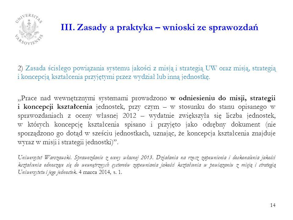 III. Zasady a praktyka – wnioski ze sprawozdań 2) Zasada ścisłego powiązania systemu jakości z misją i strategią UW oraz misją, strategią i koncepcją