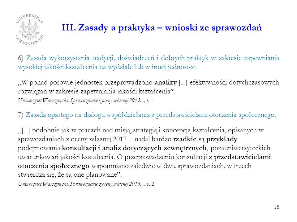 III. Zasady a praktyka – wnioski ze sprawozdań 6) Zasada wykorzystania tradycji, doświadczeń i dobrych praktyk w zakresie zapewniania wysokiej jakości