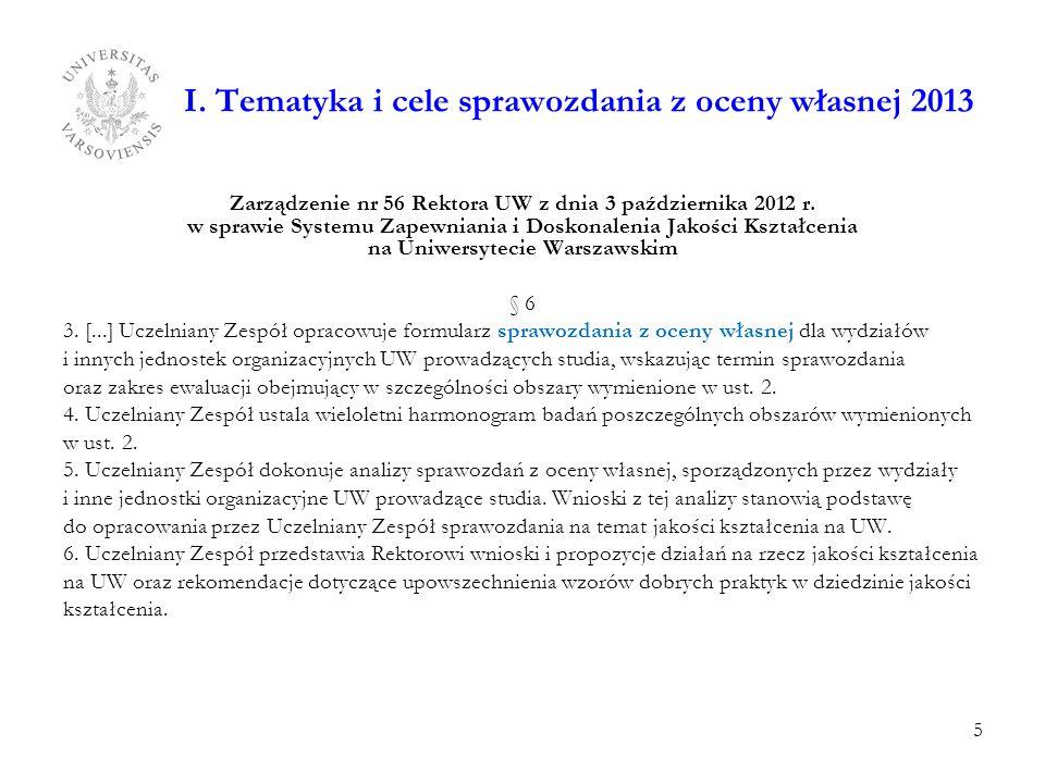 I. Tematyka i cele sprawozdania z oceny własnej 2013 Zarządzenie nr 56 Rektora UW z dnia 3 października 2012 r. w sprawie Systemu Zapewniania i Doskon
