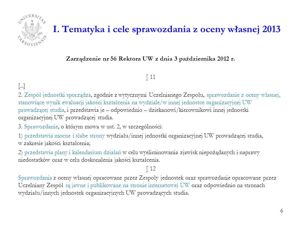 I. Tematyka i cele sprawozdania z oceny własnej 2013 Zarządzenie nr 56 Rektora UW z dnia 3 października 2012 r. § 11 [...] 2. Zespół jednostki sporząd
