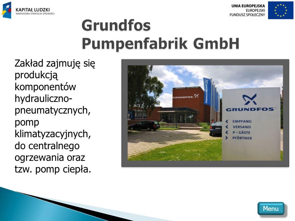 Zakład zajmuję się produkcją komponentów hydrauliczno- pneumatycznych, pomp klimatyzacyjnych, do centralnego ogrzewania oraz tzw.