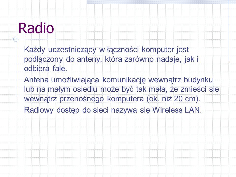 Radio Każdy uczestniczący w łączności komputer jest podłączony do anteny, która zarówno nadaje, jak i odbiera fale.