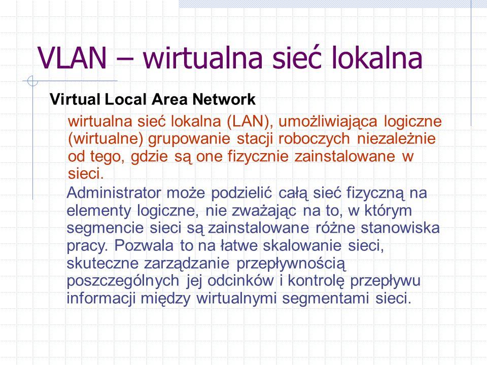VLAN – wirtualna sieć lokalna Virtual Local Area Network wirtualna sieć lokalna (LAN), umożliwiająca logiczne (wirtualne) grupowanie stacji roboczych niezależnie od tego, gdzie są one fizycznie zainstalowane w sieci.