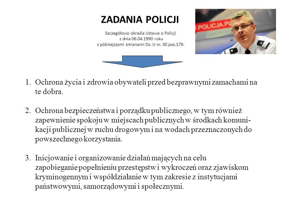 ZADANIA POLICJI Szczegółowo określa Ustawa o Policji z dnia 06.04.1990 roku z późniejszymi zmianami Dz. U nr. 30 poz.179. 1.Ochrona życia i zdrowia ob