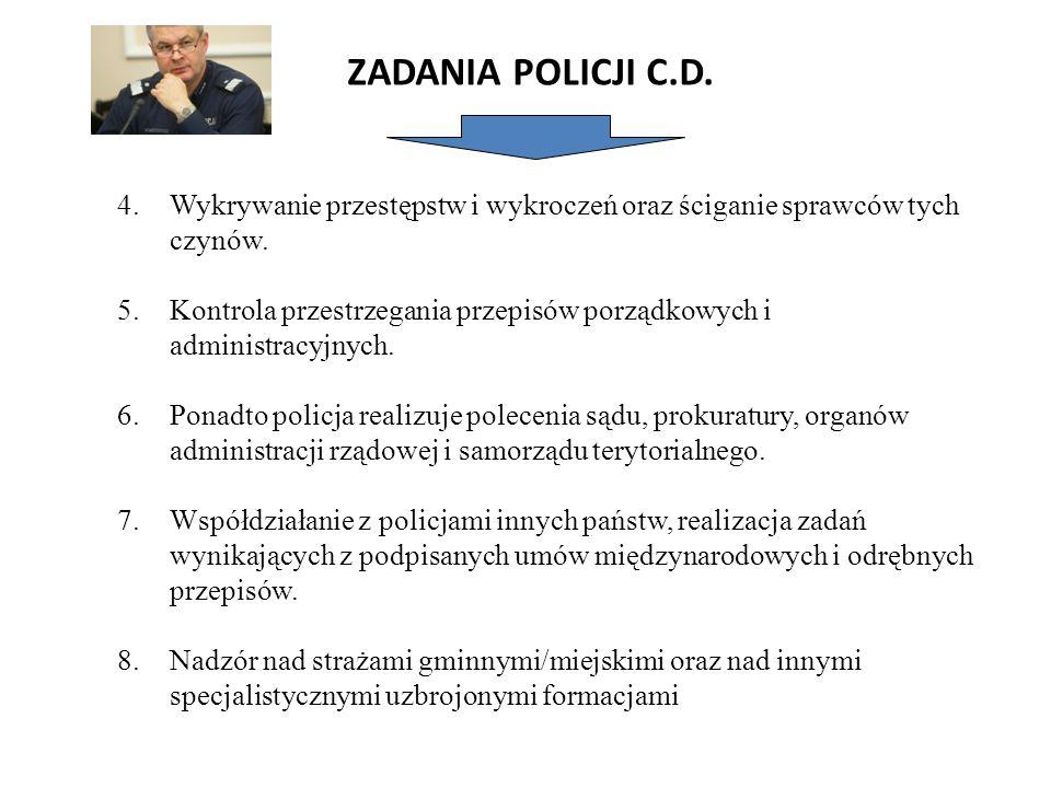 ZADANIA POLICJI C.D. 4.Wykrywanie przestępstw i wykroczeń oraz ściganie sprawców tych czynów. 5.Kontrola przestrzegania przepisów porządkowych i admin