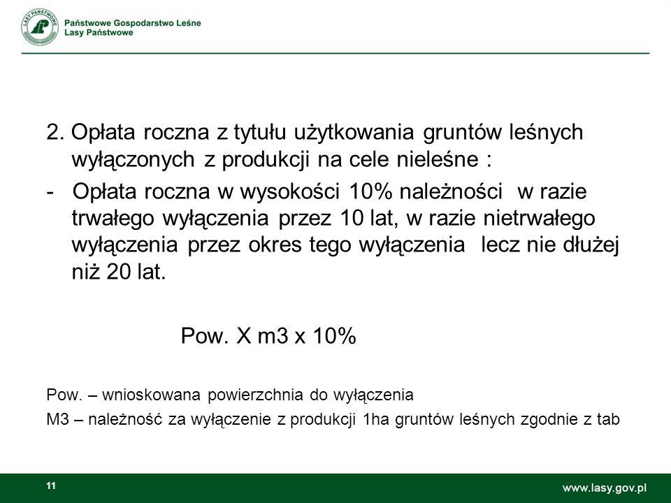 11 2. Opłata roczna z tytułu użytkowania gruntów leśnych wyłączonych z produkcji na cele nieleśne : - Opłata roczna w wysokości 10% należności w razie