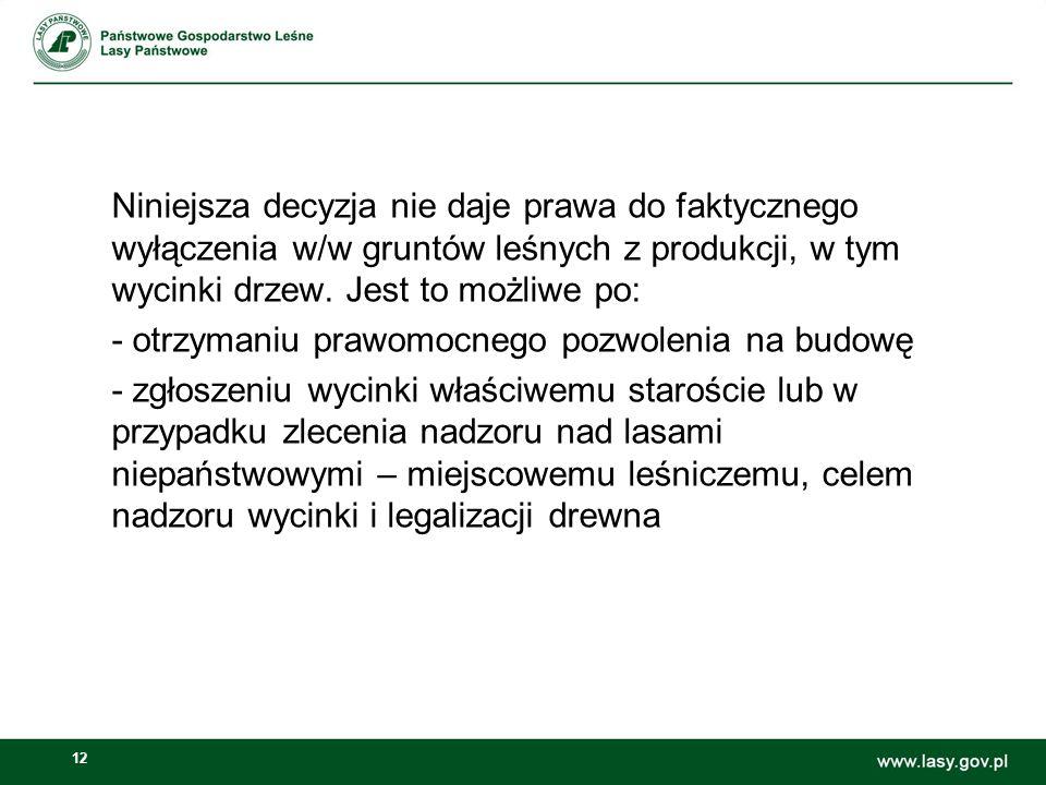 12 Niniejsza decyzja nie daje prawa do faktycznego wyłączenia w/w gruntów leśnych z produkcji, w tym wycinki drzew. Jest to możliwe po: - otrzymaniu p