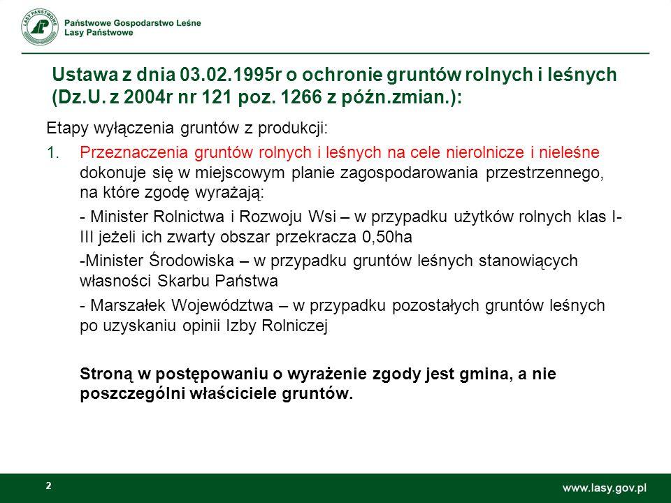 2 Etapy wyłączenia gruntów z produkcji: 1.Przeznaczenia gruntów rolnych i leśnych na cele nierolnicze i nieleśne dokonuje się w miejscowym planie zago