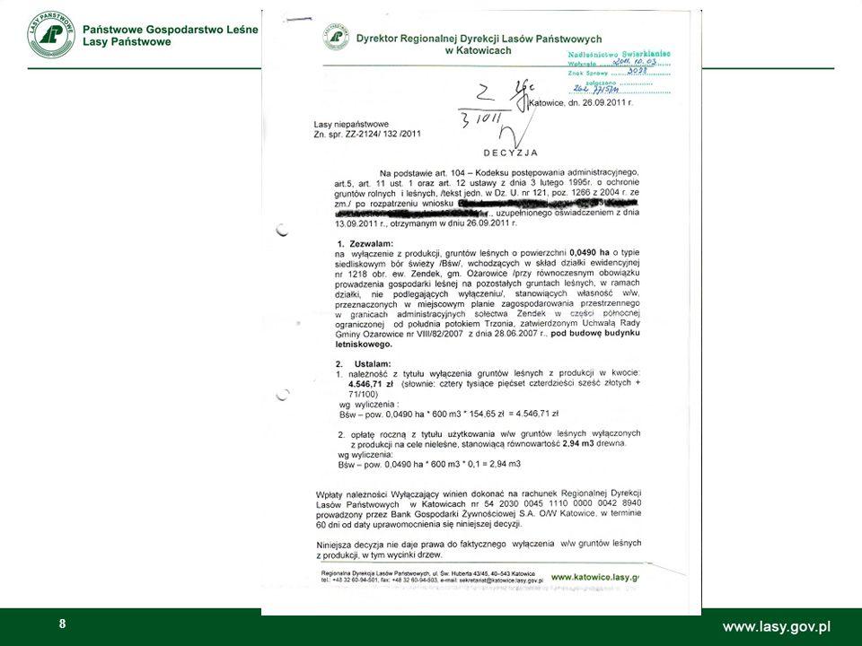 9 Decyzja wyłączająca grunt z produkcji leśnej 1.Naliczenie należności z tytułu wyłączenia gruntów leśnych z produkcji: Pow.