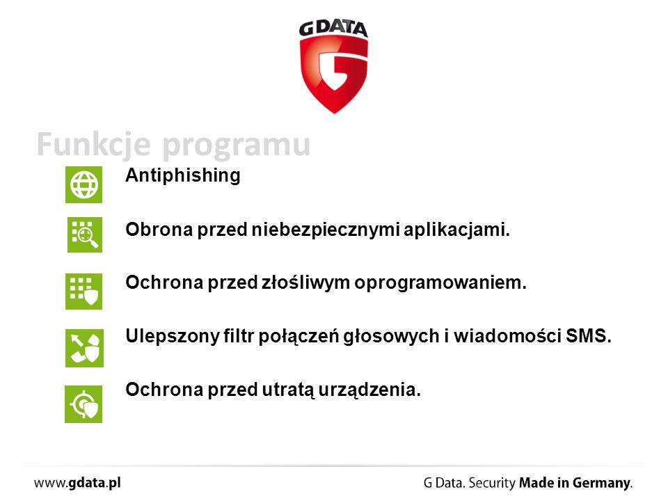Funkcje programu Antiphishing Obrona przed niebezpiecznymi aplikacjami.