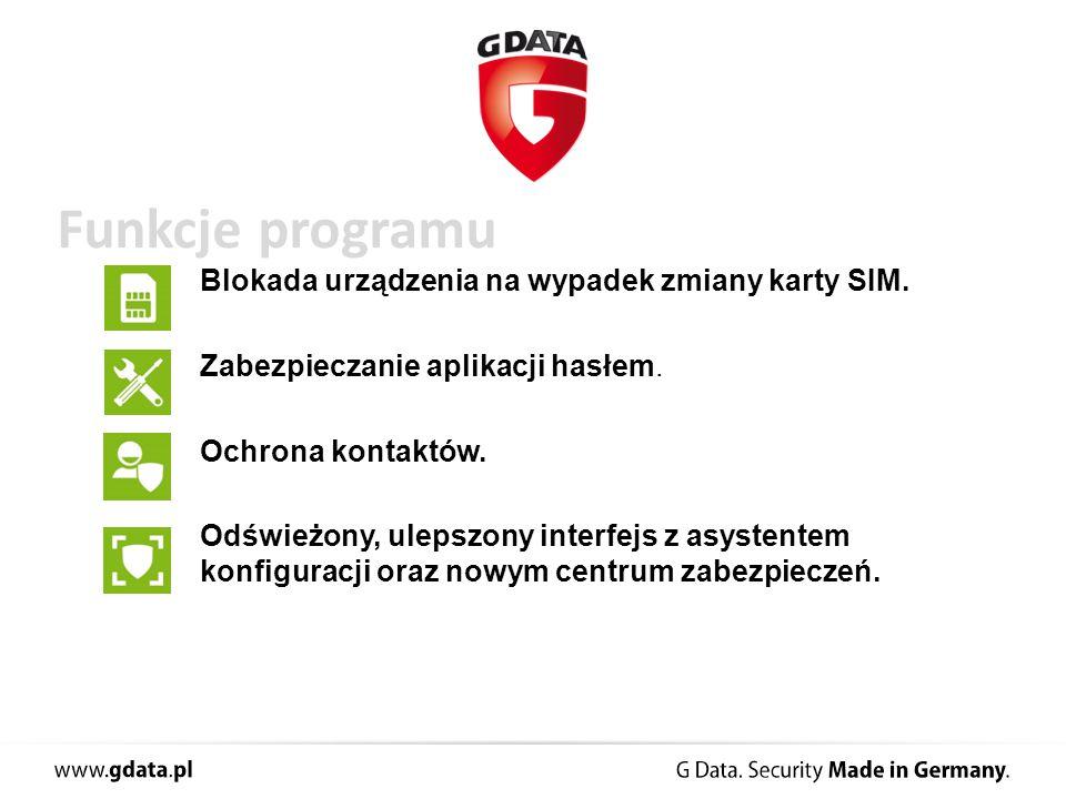 Funkcje programu Blokada urządzenia na wypadek zmiany karty SIM.