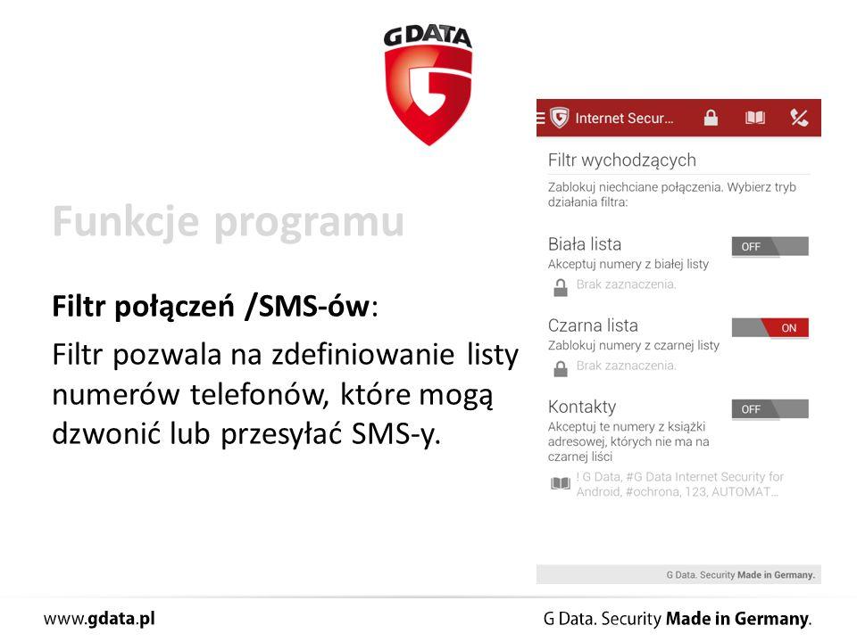 Funkcje programu Ochrona przed kradzieżą: Możliwość odczytania pozycji telefonu lub usunięcia danych zapisanych na urządzeniu.