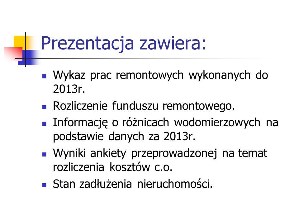 Prezentacja zawiera: Wykaz prac remontowych wykonanych do 2013r. Rozliczenie funduszu remontowego. Informację o różnicach wodomierzowych na podstawie