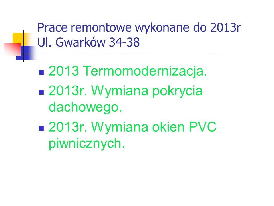 Prace remontowe wykonane do 2013r Ul. Gwarków 34-38 2013 Termomodernizacja. 2013r. Wymiana pokrycia dachowego. 2013r. Wymiana okien PVC piwnicznych.