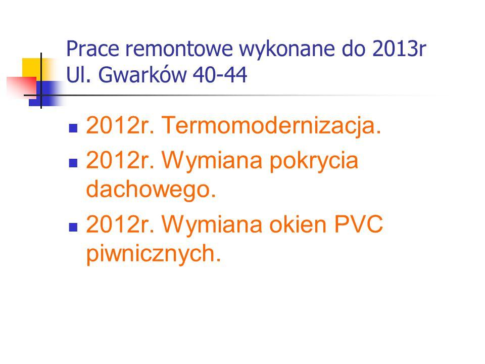 Prace remontowe wykonane do 2013r Ul. Gwarków 40-44 2012r. Termomodernizacja. 2012r. Wymiana pokrycia dachowego. 2012r. Wymiana okien PVC piwnicznych.