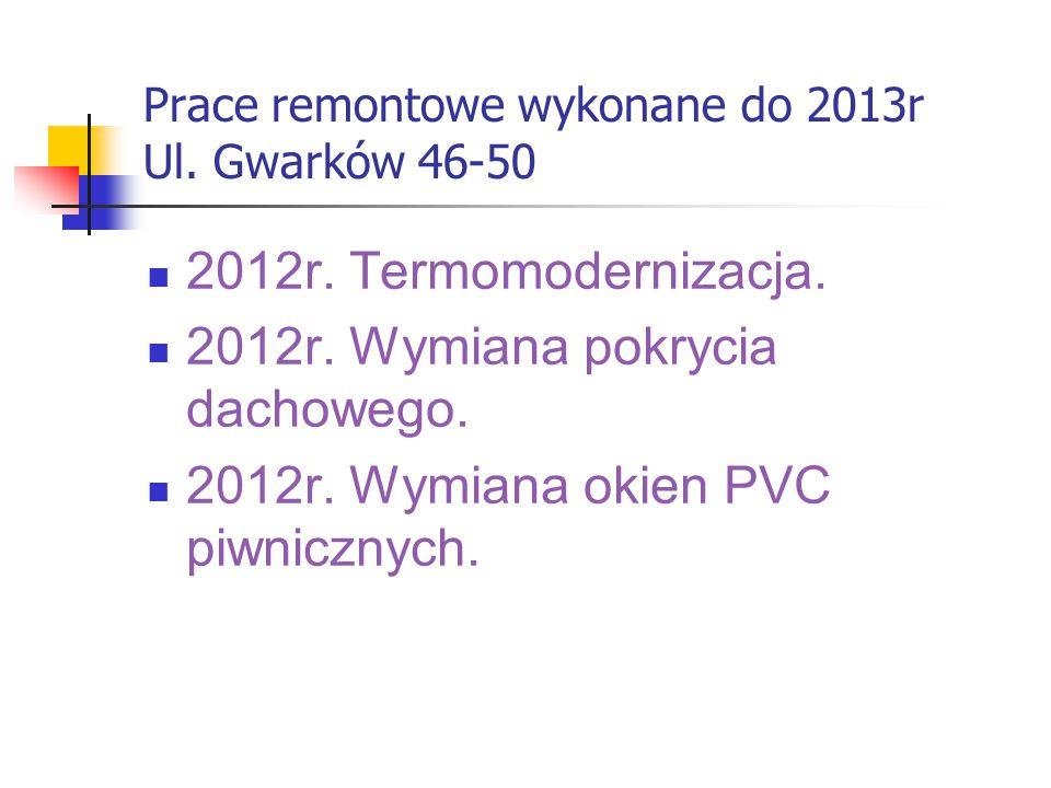 Prace remontowe wykonane do 2013r Ul. Gwarków 46-50 2012r. Termomodernizacja. 2012r. Wymiana pokrycia dachowego. 2012r. Wymiana okien PVC piwnicznych.