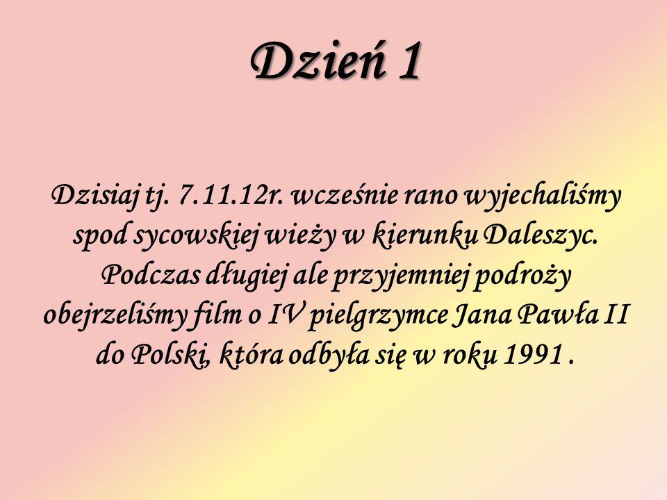 Dzień 1 Dzisiaj tj. 7.11.12r. wcześnie rano wyjechaliśmy spod sycowskiej wieży w kierunku Daleszyc. Podczas długiej ale przyjemniej podroży obejrzeliś