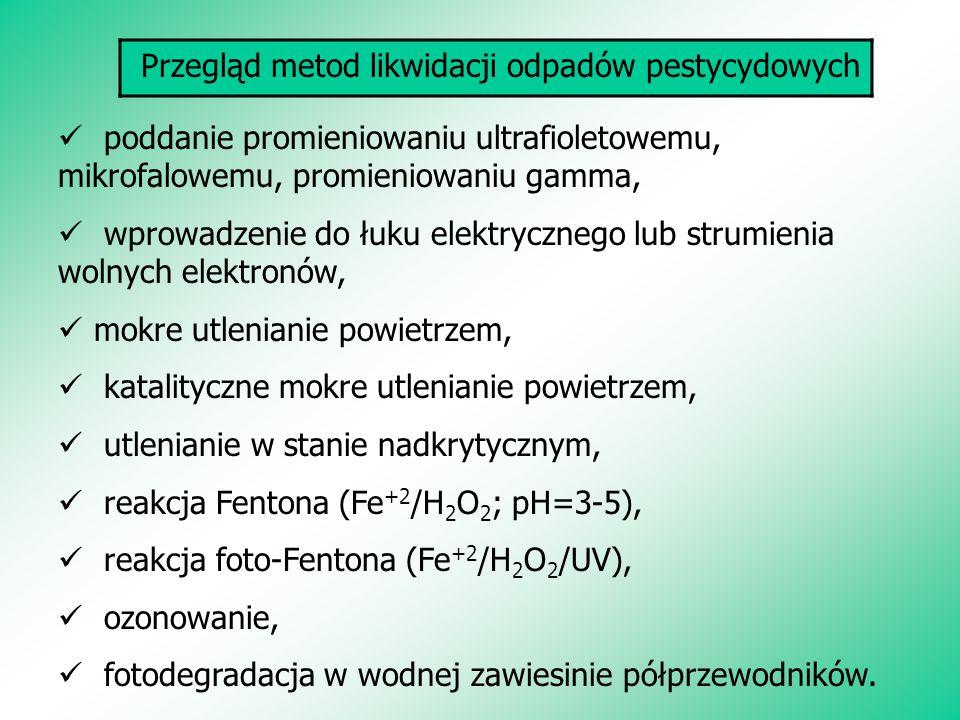 Przegląd metod likwidacji odpadów pestycydowych poddanie promieniowaniu ultrafioletowemu, mikrofalowemu, promieniowaniu gamma, wprowadzenie do łuku el