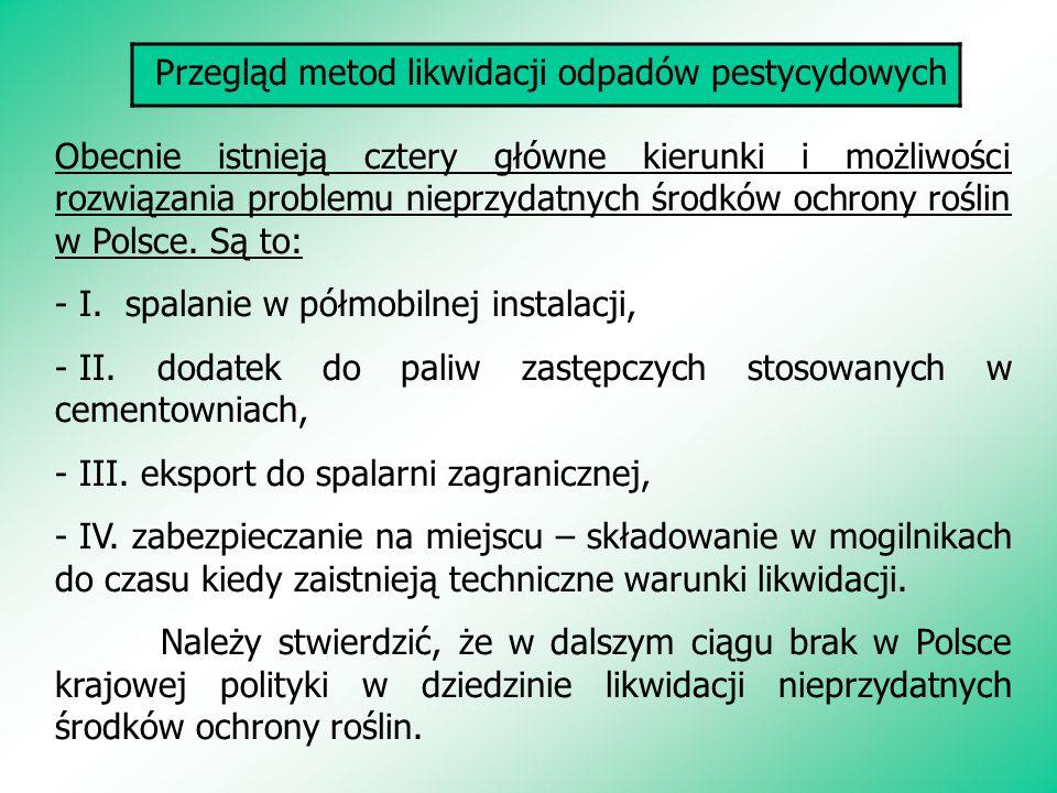Przegląd metod likwidacji odpadów pestycydowych Obecnie istnieją cztery główne kierunki i możliwości rozwiązania problemu nieprzydatnych środków ochrony roślin w Polsce.