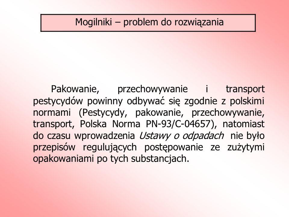 Pakowanie, przechowywanie i transport pestycydów powinny odbywać się zgodnie z polskimi normami (Pestycydy, pakowanie, przechowywanie, transport, Polska Norma PN-93/C-04657), natomiast do czasu wprowadzenia Ustawy o odpadach nie było przepisów regulujących postępowanie ze zużytymi opakowaniami po tych substancjach.