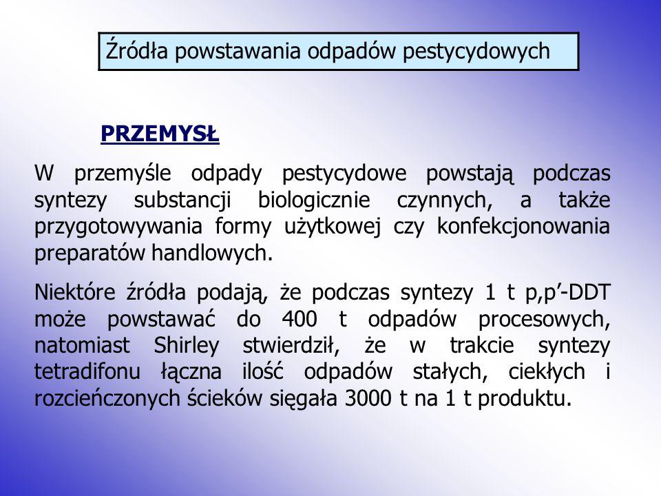Przegląd metod likwidacji odpadów pestycydowych Praktyczne zastosowanie może znaleźć opracowana w Polsce metoda retencyjno-ewaporacyjna unieszkodliwiania środków ochrony roślin w ściekach.