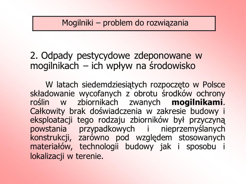 2. Odpady pestycydowe zdeponowane w mogilnikach – ich wpływ na środowisko W latach siedemdziesiątych rozpoczęto w Polsce składowanie wycofanych z obro