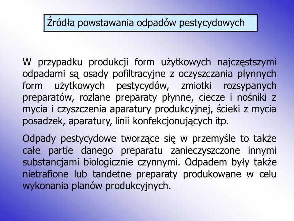 Źródła powstawania odpadów pestycydowych W przypadku produkcji form użytkowych najczęstszymi odpadami są osady pofiltracyjne z oczyszczania płynnych f