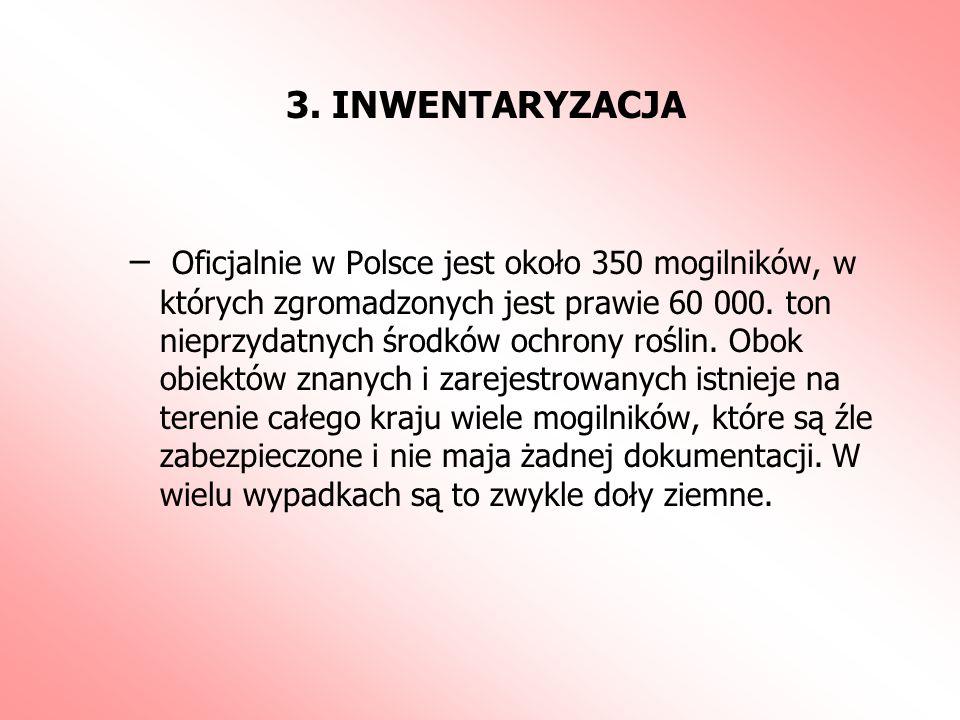 3. INWENTARYZACJA – Oficjalnie w Polsce jest około 350 mogilników, w których zgromadzonych jest prawie 60 000. ton nieprzydatnych środków ochrony rośl