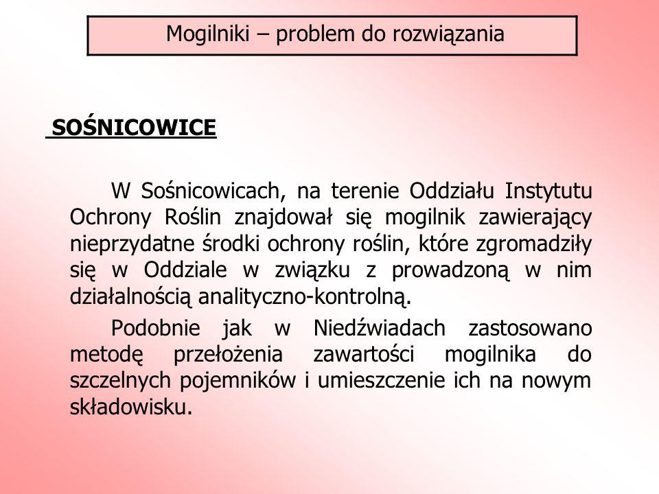 SOŚNICOWICE W Sośnicowicach, na terenie Oddziału Instytutu Ochrony Roślin znajdował się mogilnik zawierający nieprzydatne środki ochrony roślin, które zgromadziły się w Oddziale w związku z prowadzoną w nim działalnością analityczno-kontrolną.