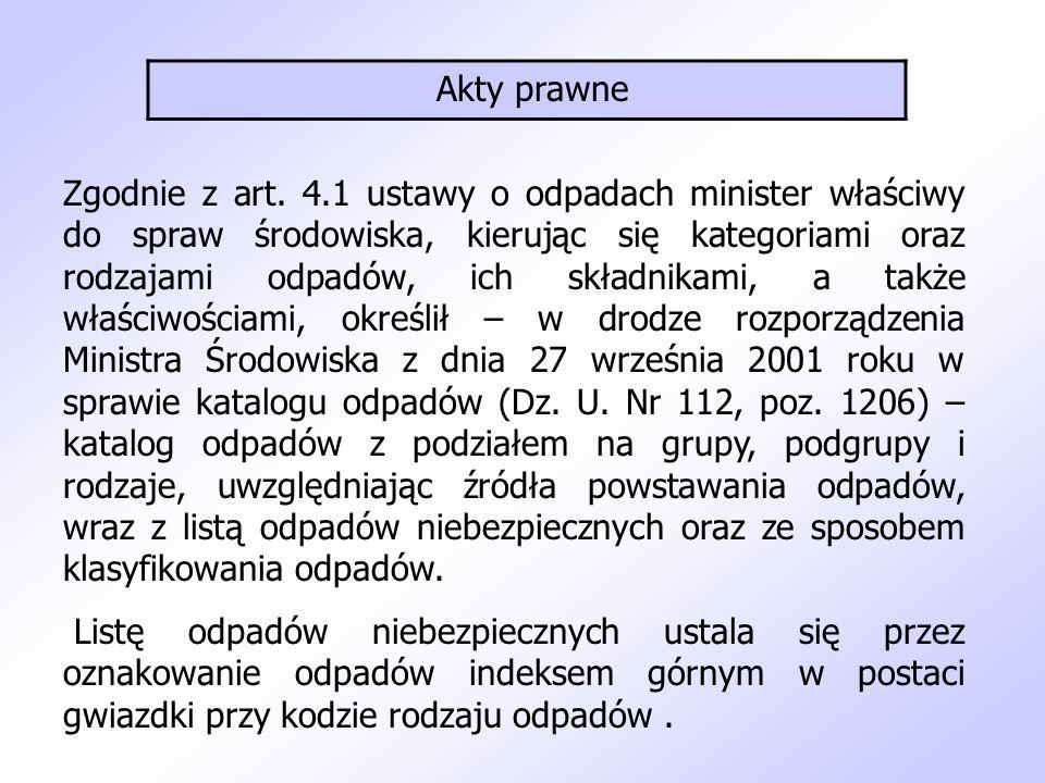 Akty prawne Zgodnie z art. 4.1 ustawy o odpadach minister właściwy do spraw środowiska, kierując się kategoriami oraz rodzajami odpadów, ich składnika
