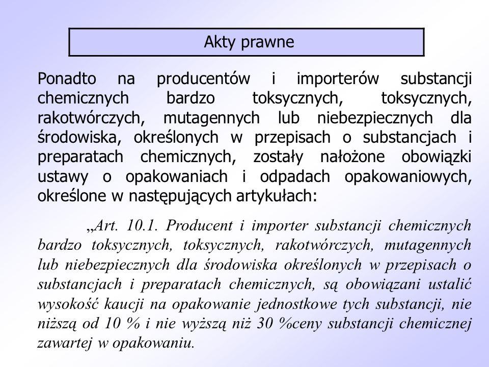 """Ponadto na producentów i importerów substancji chemicznych bardzo toksycznych, toksycznych, rakotwórczych, mutagennych lub niebezpiecznych dla środowiska, określonych w przepisach o substancjach i preparatach chemicznych, zostały nałożone obowiązki ustawy o opakowaniach i odpadach opakowaniowych, określone w następujących artykułach: """"Art."""