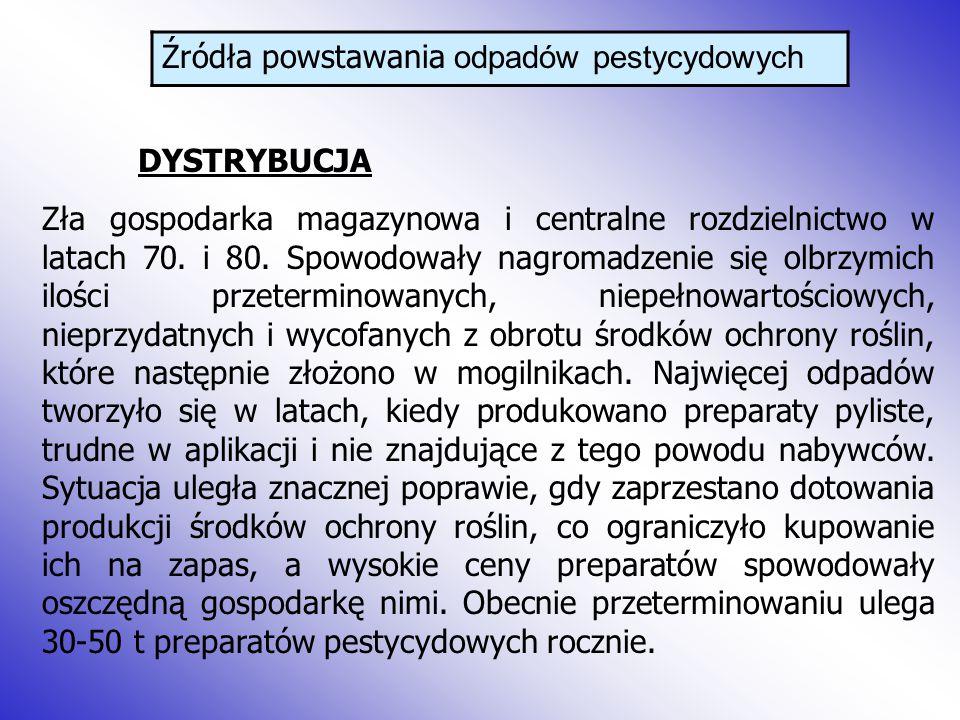 Źródła powstawania odpadów pestycydowych DYSTRYBUCJA Zła gospodarka magazynowa i centralne rozdzielnictwo w latach 70.