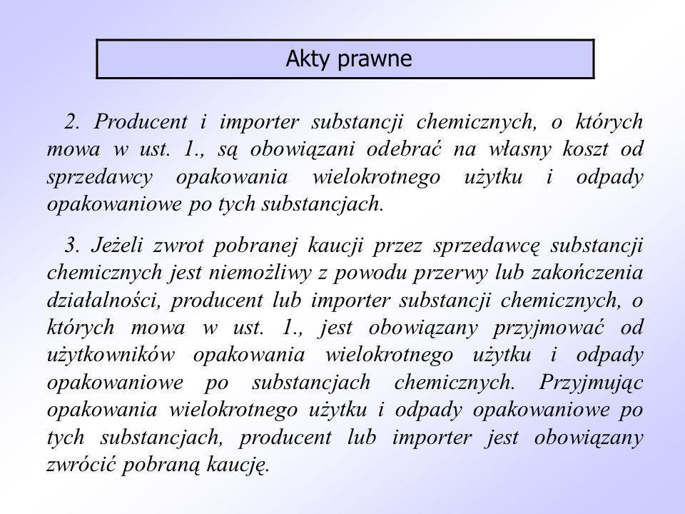 2. Producent i importer substancji chemicznych, o których mowa w ust. 1., są obowiązani odebrać na własny koszt od sprzedawcy opakowania wielokrotnego