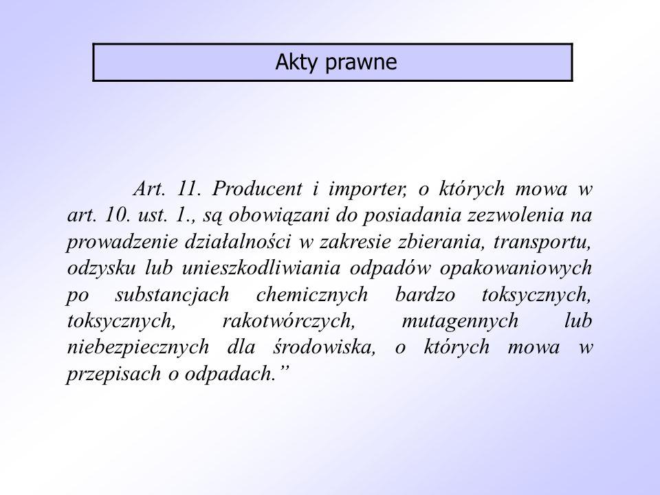 Art. 11. Producent i importer, o których mowa w art. 10. ust. 1., są obowiązani do posiadania zezwolenia na prowadzenie działalności w zakresie zbiera