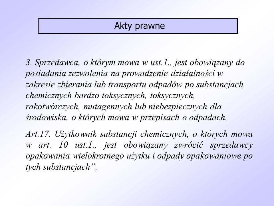 3. Sprzedawca, o którym mowa w ust.1., jest obowiązany do posiadania zezwolenia na prowadzenie działalności w zakresie zbierania lub transportu odpadó