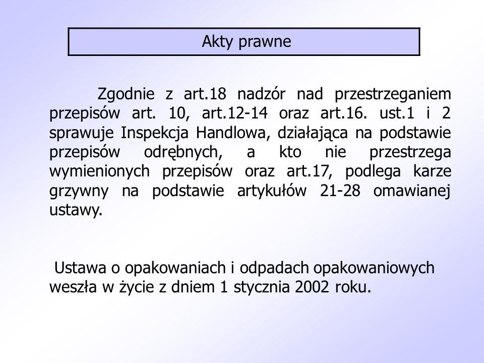 Zgodnie z art.18 nadzór nad przestrzeganiem przepisów art. 10, art.12-14 oraz art.16. ust.1 i 2 sprawuje Inspekcja Handlowa, działająca na podstawie p