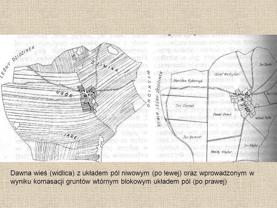 Dawna wieś (widlica) z układem pól niwowym (po lewej) oraz wprowadzonym w wyniku komasacji gruntów wtórnym blokowym układem pól (po prawej)