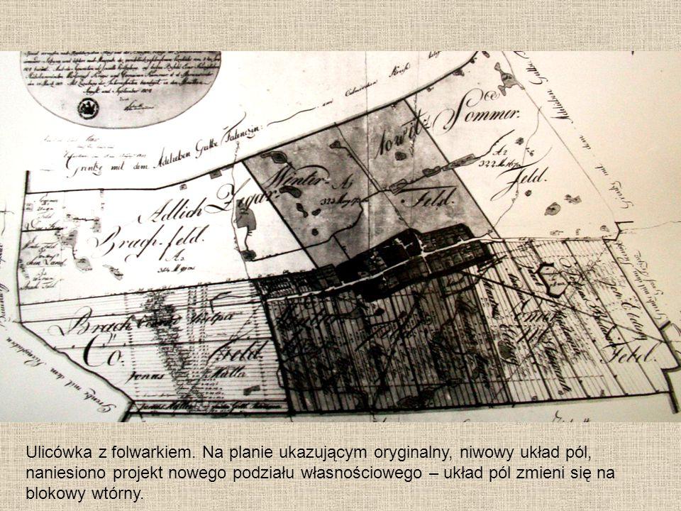 Ulicówka z folwarkiem. Na planie ukazującym oryginalny, niwowy układ pól, naniesiono projekt nowego podziału własnościowego – układ pól zmieni się na
