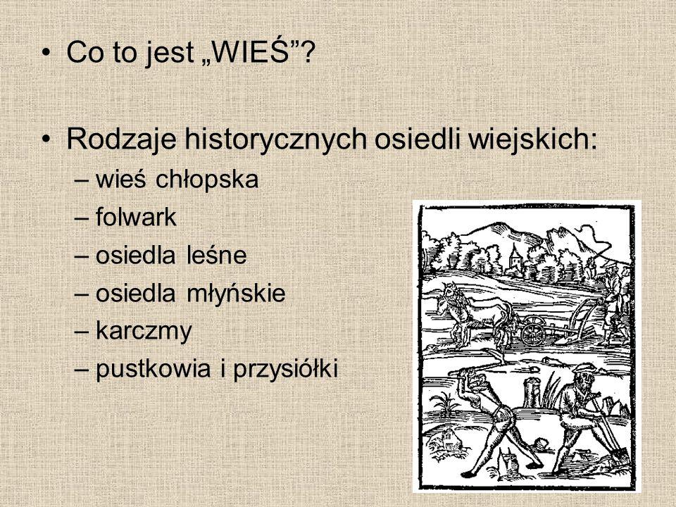 """Co to jest """"WIEŚ""""? Rodzaje historycznych osiedli wiejskich: –wieś chłopska –folwark –osiedla leśne –osiedla młyńskie –karczmy –pustkowia i przysiółki"""