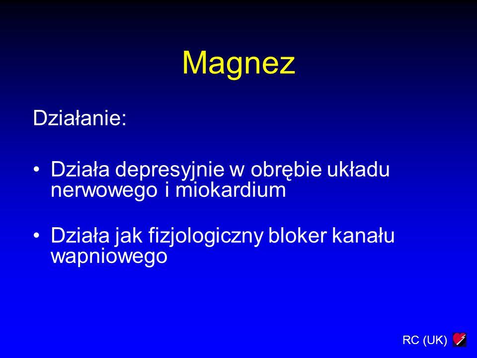 RC (UK) Magnez Działanie: Działa depresyjnie w obrębie układu nerwowego i miokardium Działa jak fizjologiczny bloker kanału wapniowego