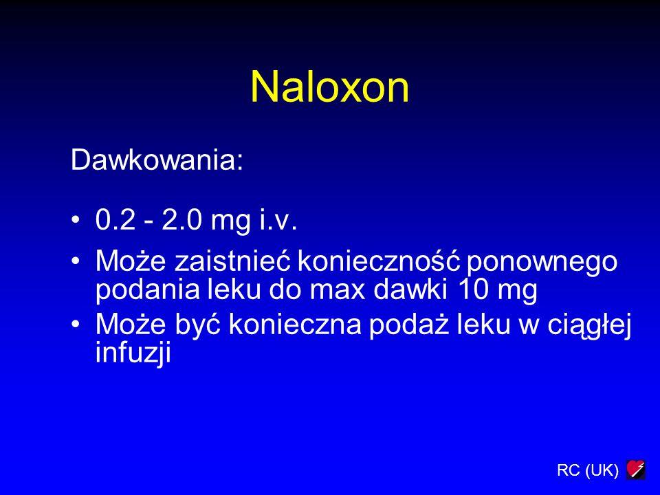 RC (UK) Naloxon Dawkowania: 0.2 - 2.0 mg i.v. Może zaistnieć konieczność ponownego podania leku do max dawki 10 mg Może być konieczna podaż leku w cią