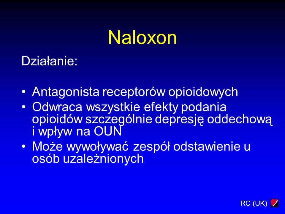 RC (UK) Naloxon Działanie: Antagonista receptorów opioidowych Odwraca wszystkie efekty podania opioidów szczególnie depresję oddechową i wpływ na OUN