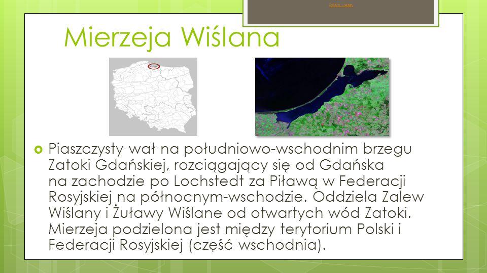 Mierzeja Wiślana  Piaszczysty wał na południowo-wschodnim brzegu Zatoki Gdańskiej, rozciągający się od Gdańska na zachodzie po Lochstedt za Piławą w Federacji Rosyjskiej na północnym-wschodzie.
