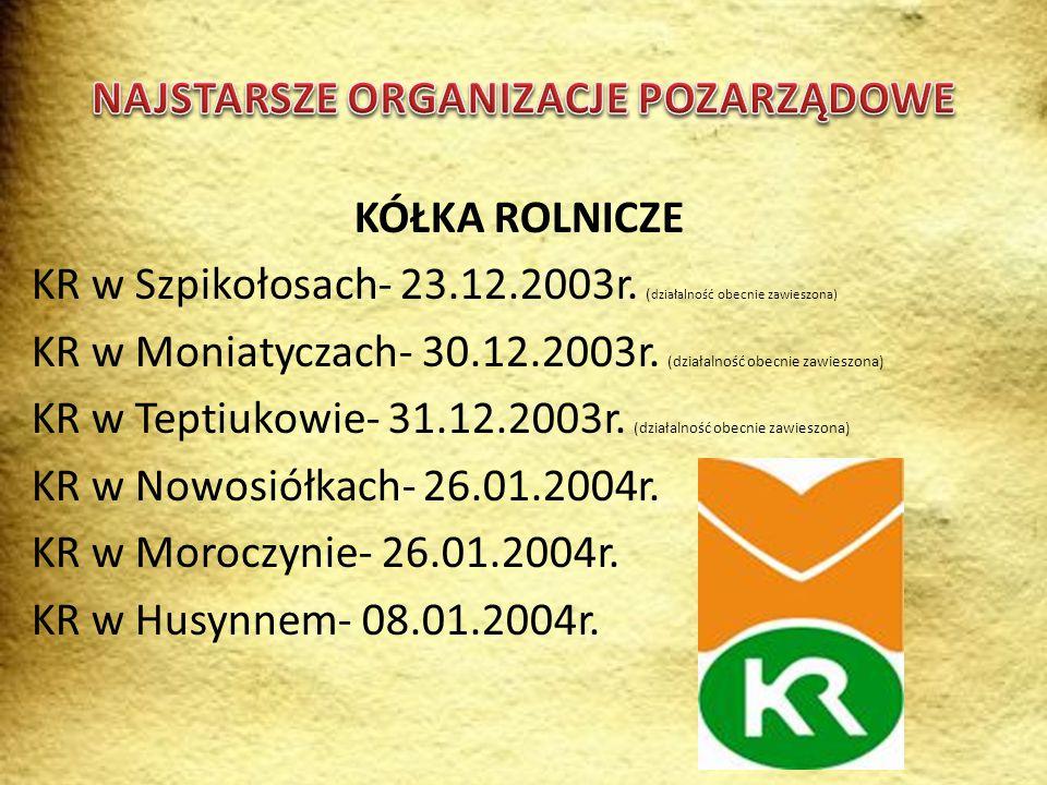 KOŁA GOSPODYŃ WIEJSKICH KGW Ślipcze- 1951r. KGW Kozodawy- 1957r. KGW Kosmów- 1958r.