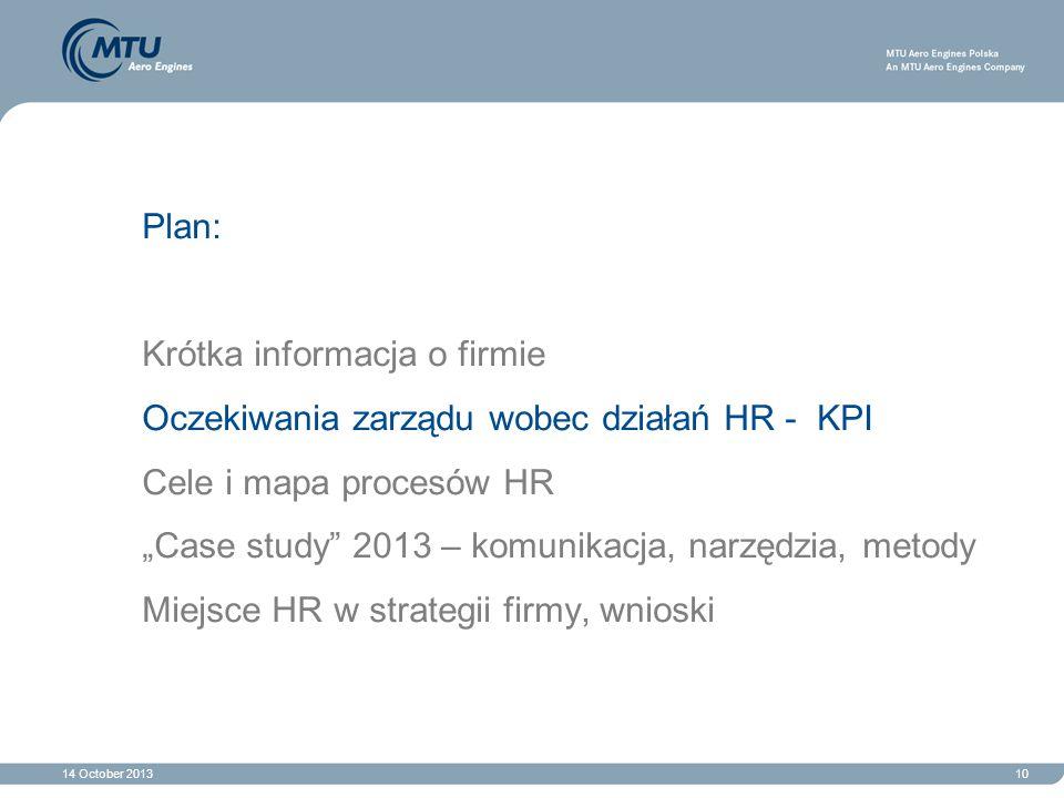 """14 October 201310 Plan: Krótka informacja o firmie Oczekiwania zarządu wobec działań HR - KPI Cele i mapa procesów HR """"Case study"""" 2013 – komunikacja,"""